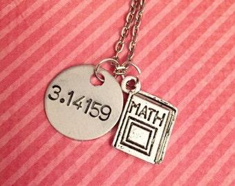 Pi - 3.14159 Math Book Necklace - Math Jewelry - Math Geek Jewelry - Nerd Jewelry - Hand Stamped Jewelry