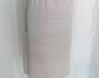 Vintage 70s womens straight skirt, beige linen size 10