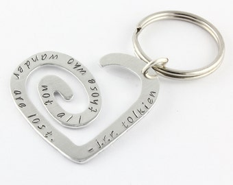 Not All Those Who Wander Are Lost Keychain - Heart Key Chain - Traveler Gift - Travel Keyring - Travel Key Ring - Tolkien Quote Keychain