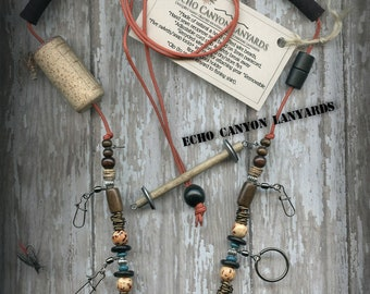 Fly Fishing Lanyard with Bone, Coconut Shell, and Wood Beads on Solar Orange 2mm Paracord