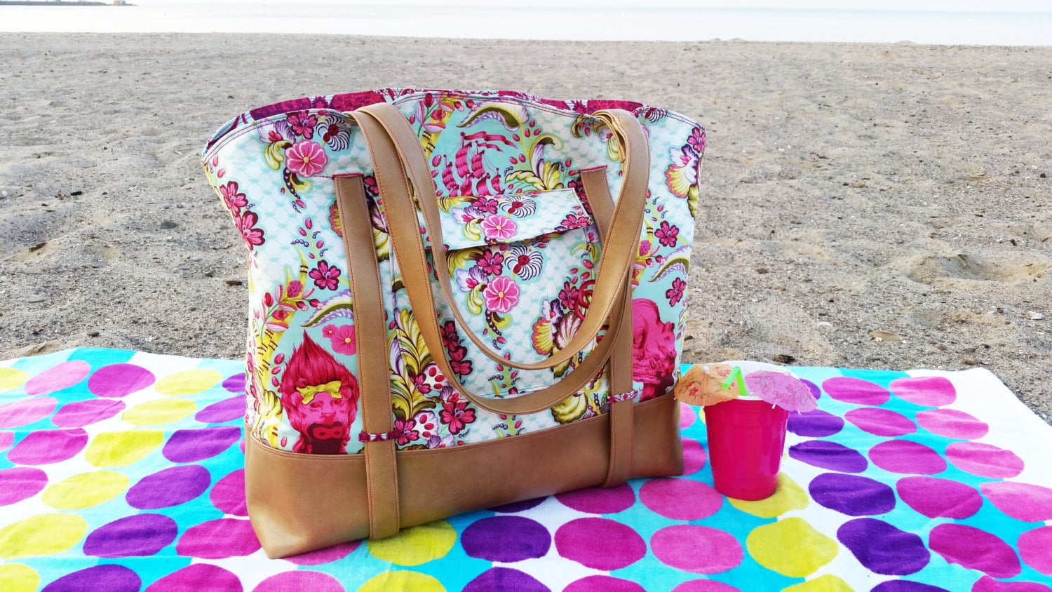 Swoon patterns sophia beach tote pdf beach bag purse sewing zoom jeuxipadfo Gallery