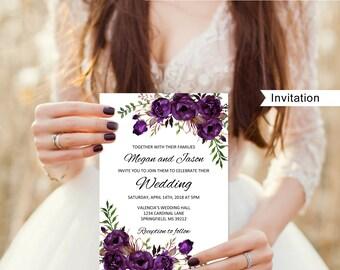 Eggplant Wedding Invitation Template, Boho Chic Wedding Invitation,  #A039, Instant Download, Editable PDF