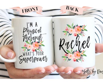 Physical Therapy Mug, Gifts for Physical Therapist, PT gifts, graduation gift, superpower PT graduation Physical Therapist Gifts,m320d