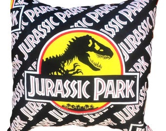Jurassic Park Vintage Fabric Dinosaur Cushion Pillow Handmade by Alien Couture