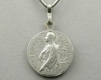French, Antique Religious Pendant. Catholicism. Saint Philomena. Saint John Vianney Cure D' Ars. Jean Marie Vianney. Medal. 160702 11 J