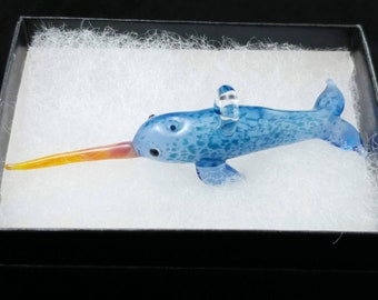 Glass Narwhal Pendant