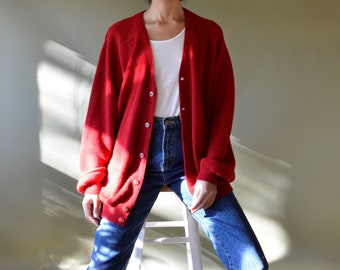 vintage 100% alpaca oversized red cardigan // fits most