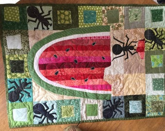 Summery Bright Quilted Table Runner or Wall Quilt
