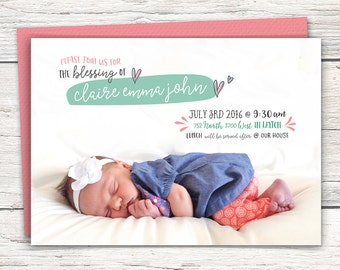 Girls Baby Blessing Announcement Editable with Photo