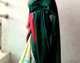 Handpainted, handcrafted Bengal Cotton with Sambhalpuri Ikat Saree