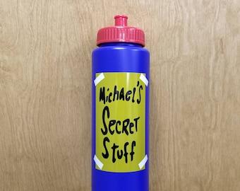 Michael's Secret Stuff Water Bottle Halloween Costume Prop Movie Tune Squad Toon Squeeze Squirt Basketball Mike's Michael Jordan Gift Idea