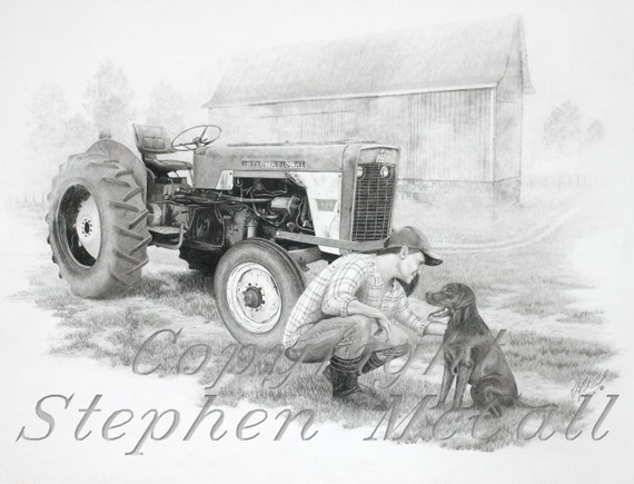 Original pencil drawing morning on the farm by