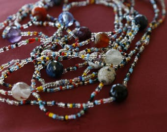 Multi row necklace with multicolor bead