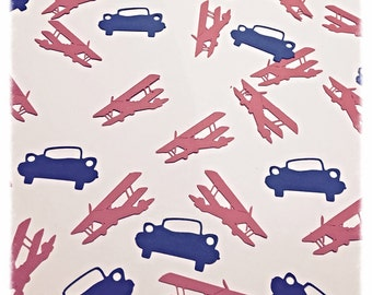 Custom confetti.  Boy Birthday decorations.   Car confetti.  Plane confetti.   Blue and Red confetti.   Birthday confetti.   Baby birthday