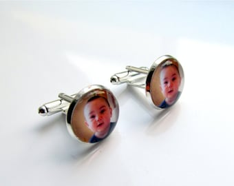 Photo Cufflinks, Personalized Cufflinks, Mens Cufflinks, Custom Keepsake For Dad