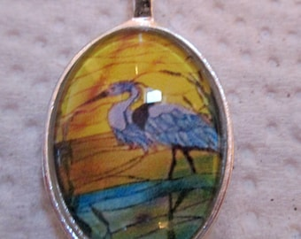 Blue Heron Pendant or Scarf Slide, scarf jewelry, scarf ring