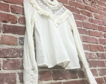 Vintage Gunne Sax Sheer Cotton Victorian Blouse Seventies 1970s Size Small