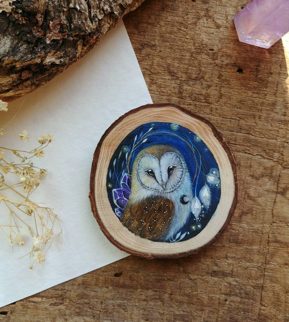 Painting barn owl, animal spirit, original art, painting on wood, wood slice, gift idea