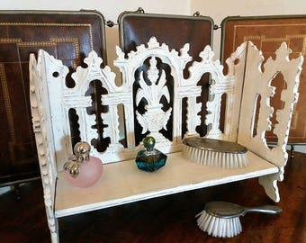 Old shelf - display - bleached travel dressing table