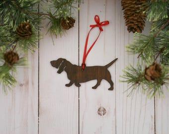 Customizable Basset Hound Christmas Tree Ornament | Personalized Dog Ornament