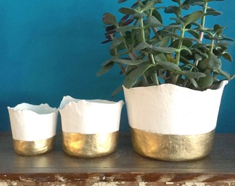 """Pre-order: Ceramic Gold """"dipped"""" planter with drainage hole and tray, Large to small planter, apartment decor, gold decor, minimalist decor"""