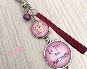 cadeau maîtresse , porte-clés bijou de sac a message le top des maîtresses Rose REF.40