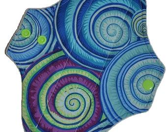 Light Core- Swirly Shells Reusable Cloth Pantyliner Pad- WindPro Fleece- 8.5 Inches