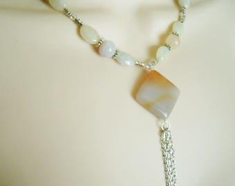 Moonstone And Quartz Necklace boho jewelry bohemian jewelry gypsy jewelry hippie jewelry hipster new age necklace metaphysical boho necklace