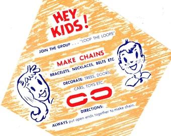 Unused Advertising Gumball Machine Label Hey Kids Make Chains Loop The Loops 1970's