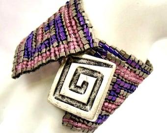 Purple Bracelet, Pink Bracelet, Greek Key Bracelet, Beadwork Cuff, Hand Woven Geometric Bracelet, Spiral Pattern