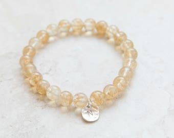 Personalized Yellow Cherry Quartz Bracelet,  Personalized Bracelet, Personalized Jewelry , Sterling Silver