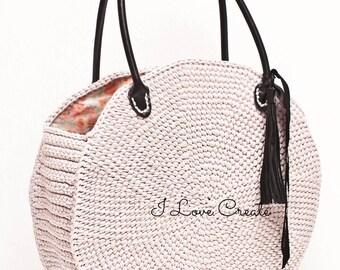 Powder round bag, crochet circle bag, summer bag, large beach bag, girlfriend gift, beige round bag, large bag with leather handles