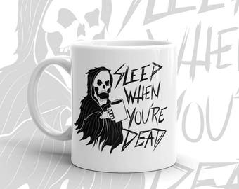 Gothic coffee mug Skull Grim Reaper Death Tattoo art Line art Nu goth Cafffeine junkie Mugs with sayings Mugs with pictures Spooky Creepy