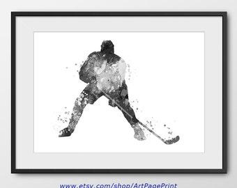 Hockey Print, Hockey Decor, Black and White, Sport Wall Art, Sport Poster, Abstract, Hockey Player Watercolor Print, Hockey Art (A0458)
