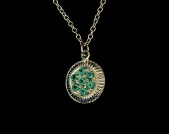 Vintage Inspired - Art Deco - Emerald - Hand Engraved - 10K Yellow Gold Pedant - Traditional Pave Flower Cluster