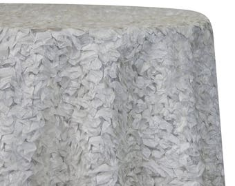 Tablecloths in White Curly Satin  - Ideal for Weddings & Bridal Events