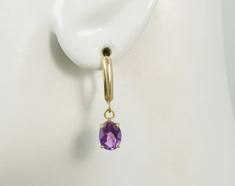 Purple Amethyst Oval Gemstone, Solid 14K Gold Dangle Lever Back Earrings,Secure European Style Clip Ear Wires,Classic Earrings 14KAM8X6OVLLB