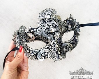 Lace Mask, Metallic Silver Black Lace Masquerade Mask, Mask w/ Exquisite Clear Rhinestones, Lace Masquerade Mask [Metallic Silver on Black]