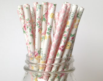 Straws Floral and Pink Straws Pink Flower Straws, Floral Baby Shower, Bridal shower straws blush pink damask Straws Lace Straws ROSY