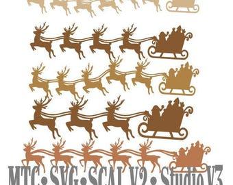 SVG Cut File Santa Sleigh with Reindeer Design #07 Bundle of 18 Borders Cut File MTC SCAL Cricut Silhouette Cutting File