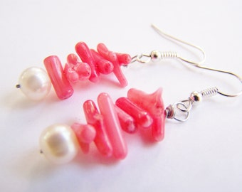 Coral and freshwater pearl earrings - FREE shipping with another item - Affordable gifts - Bridesmaid sets and beach weddings