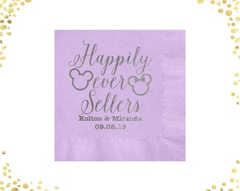 100+ Wedding Napkins Cocktail Napkins Beverage Napkins Luncheon Napkins Disney Happily Ever After Mickey Minnie Napkins Lots of Colors
