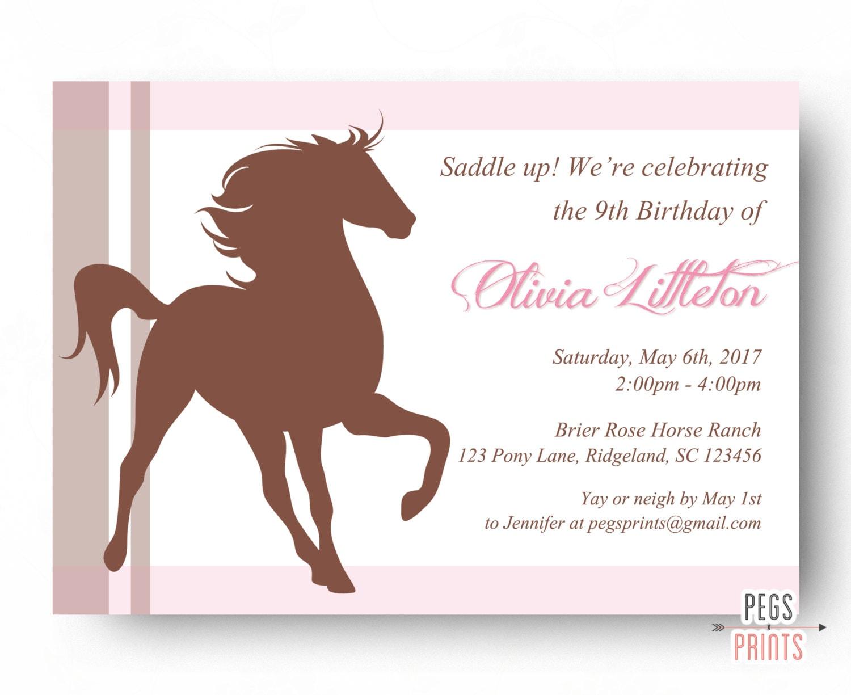 Horse Birthday Party Invitation Printable // Horse Birthday
