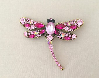 Pink Dragonfly Brooch.Hot Pink Dragonfly Brooch.Pink Dragonfly Rhinestone Brooch.Broach.Vintage Style.Wedding Accessory.Large Brooch.Pin