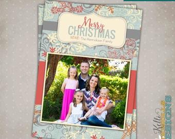 Custom Vintage Snowflake Photo Christmas Card, Printable Holiday Greeting Card 1 Picture #C108