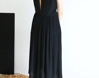 RANIA DRESS -sandwashed silk sleeveless black dress / evening dress with long slit at back /backless /LBD