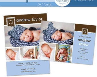 Baby Boy (Andrew) 5x7 BIRTH ANNOUNCEMENT Photographer Template