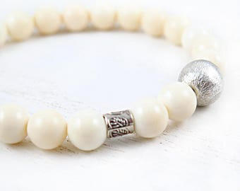 Ivory Bone Beaded Bracelet with Hill Tribe Silver Accent