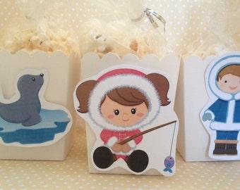 Eskimo, Arctic Animals, North Pole Party Popcorn or Favor Boxes - Set of 10