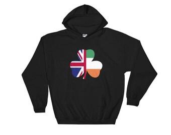 St Patricks Day Irish Flag British Flag Hooded Sweatshirt. Fun Hoodie for St Paddys Day Party.